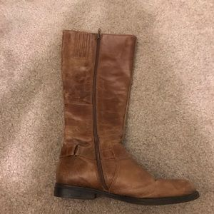 High leather brown boots